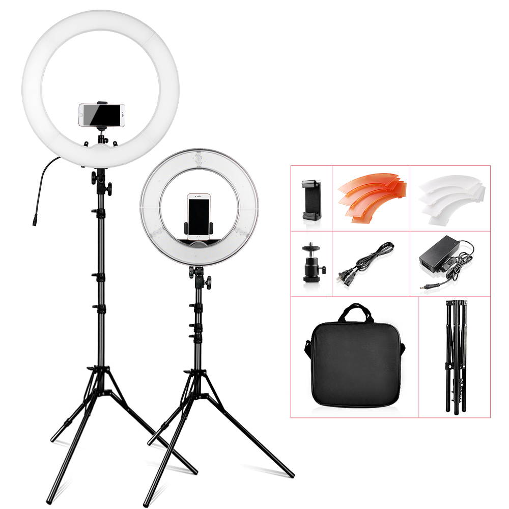 Travor RL 12 RL 18 5500K CRI 90 Ring Light 1418 Dimmable LED Selfie Ring Light for video Makeup YouTube with Tripod carry bad
