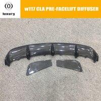 W117 fibra de carbono traseiro lábio difusor spoiler para benz w117 c117 cla180 cla200 cla250 cla45 amg esporte amortecedor 2013-2015