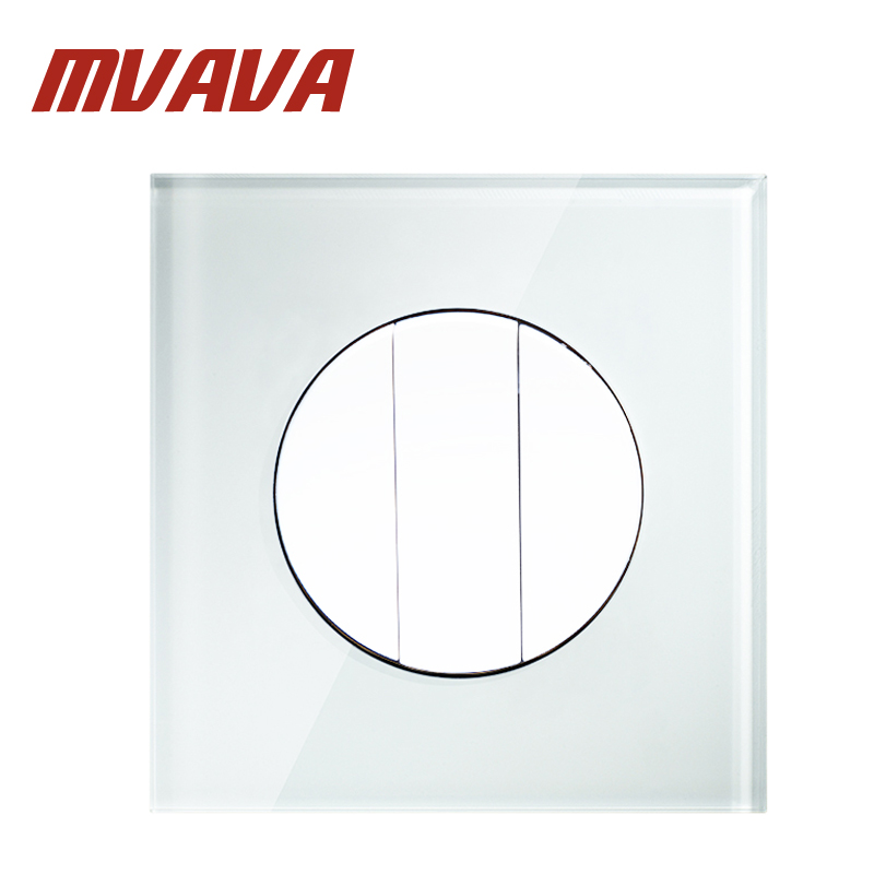 MVAVA Luxury white Crystal glass panel push button light wall switch 3 gang 1 way 16A 250V Factory hot sale Free Shipping
