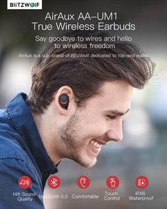Image 2 - For BlitzWolf brother AIRAUX AA UM1 Wireless Bluetooth 5.0 Earphone Hi Fi Handsfree With Mic Stereo Waterproof  Headset In Stock
