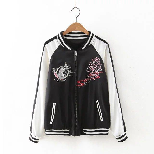 women floral embroidered bomber jacket reversible satin