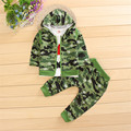 (4 sets/lot) New 2016 Children's Clothing Boys Clothing Sets Baby Boys Army Flower Tops & Bottoms 3 pcs Sets  091902
