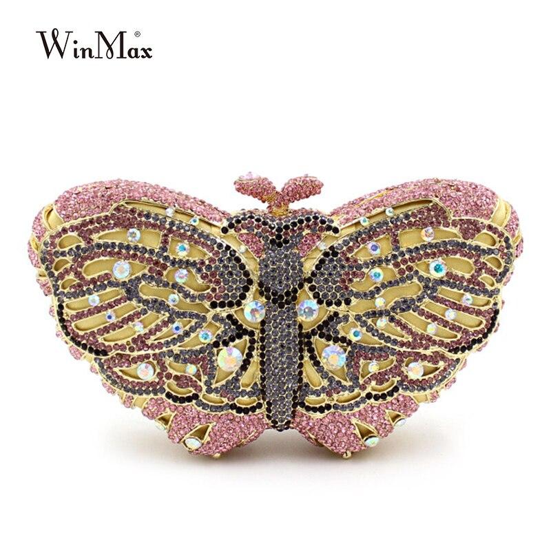 купить Winmax popular luxury evening bag Sparkly Crystal women party bag Colorful butterfly pattern Ladies dinner bag prom Clutch purse онлайн