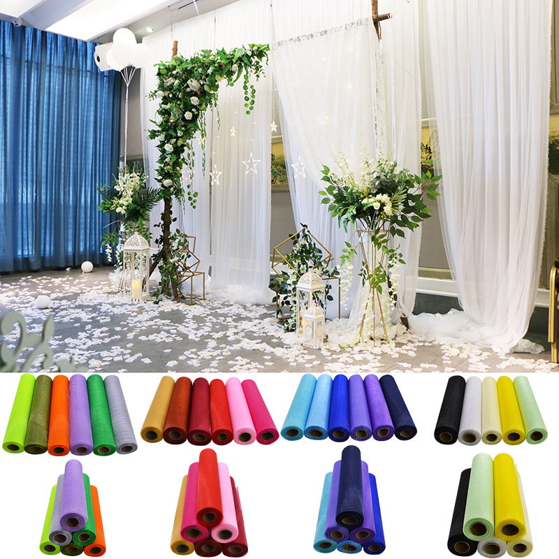 26 Meters 29cm Tulle Roll Sheer Organza Gauze Tutu Wedding Decoration DIY Chair Sashes Table Runner Craft Sewing Fabric crafts