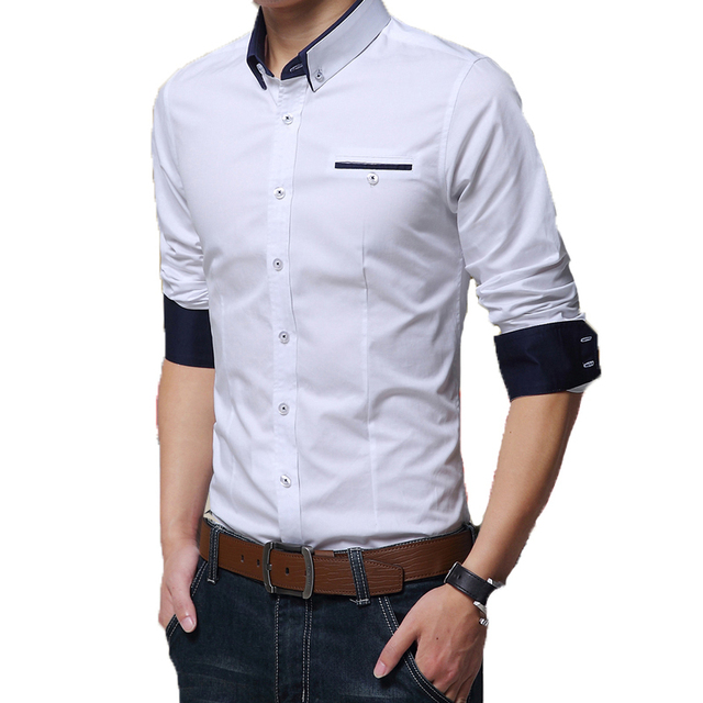 Весна 2015The Новой Корейской версии с длинными рукавами хлопок рубашки мужские рубашки мужчины носят одежду 6 цвета РАЗМЕР: M-XXXXXL 49