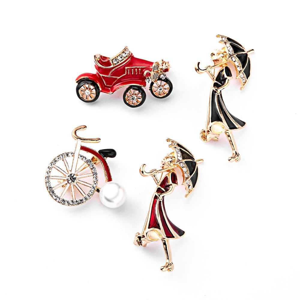 RINHOO Crystal Car Girls Bicycle Brooches for Women and Kids Cute Creative Carton Style Brooch Pin Fashion Jewelry T-shirt Pins