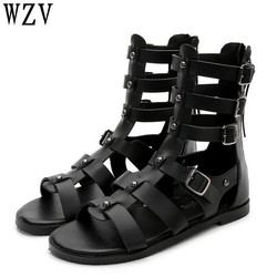 Woman Sandals 2018 Summer Roman Women mid-calf Cool boots Open Toe Casual Shoes Woman Fashion buckle flat Sandals  E599 1