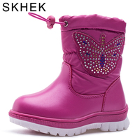 SKHEK Winter Girls Boots With Bow Tie Warm Plush Kids Boots For Kids High Cotton Padded