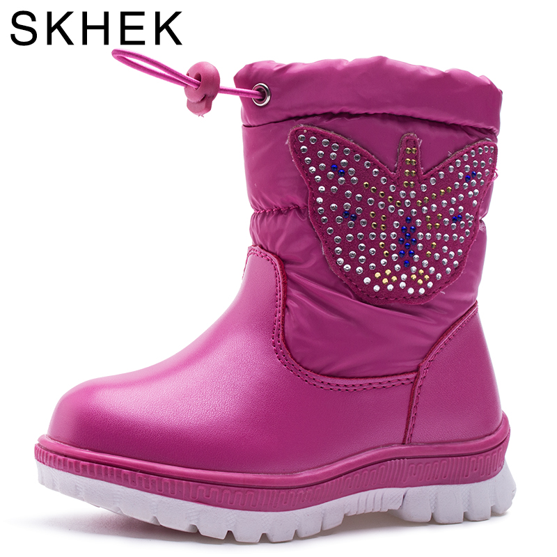SKHEK Winter Girls Boots With Bow tie Warm Plush Kids Boots For Kids High Cotton-Padded Baby Shoes