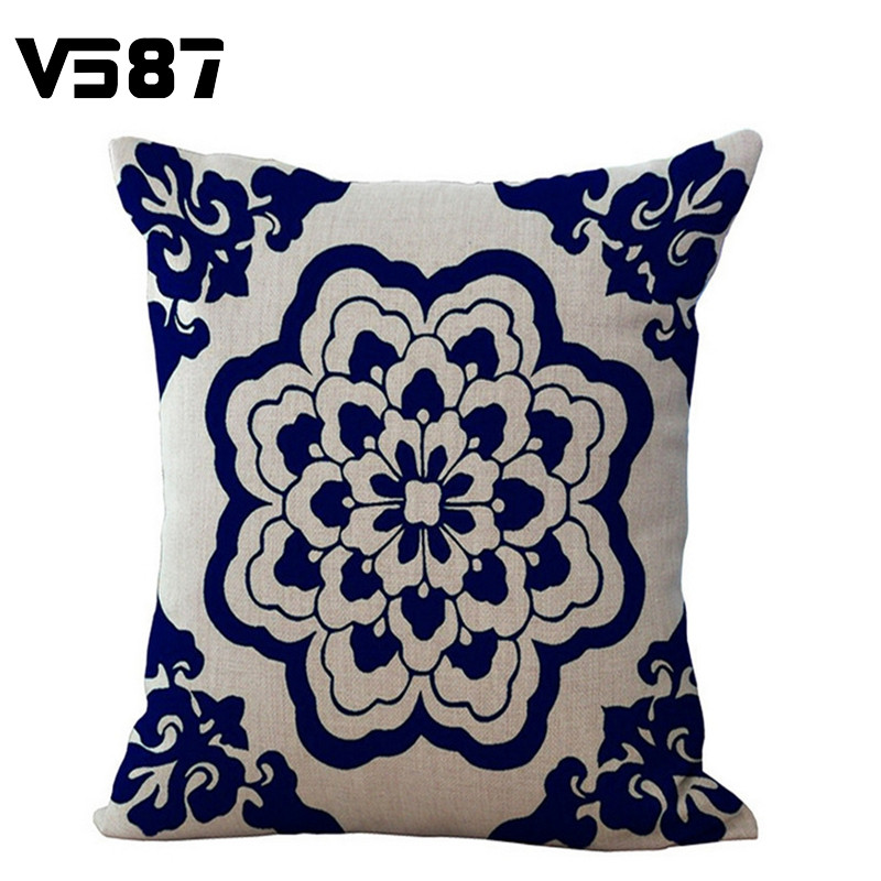 10 Patterns Square Cotton Linen Cushion Pillow Cover Bohemian Style Home Decorative Blend Cushions Chair Size 45cmX45cm