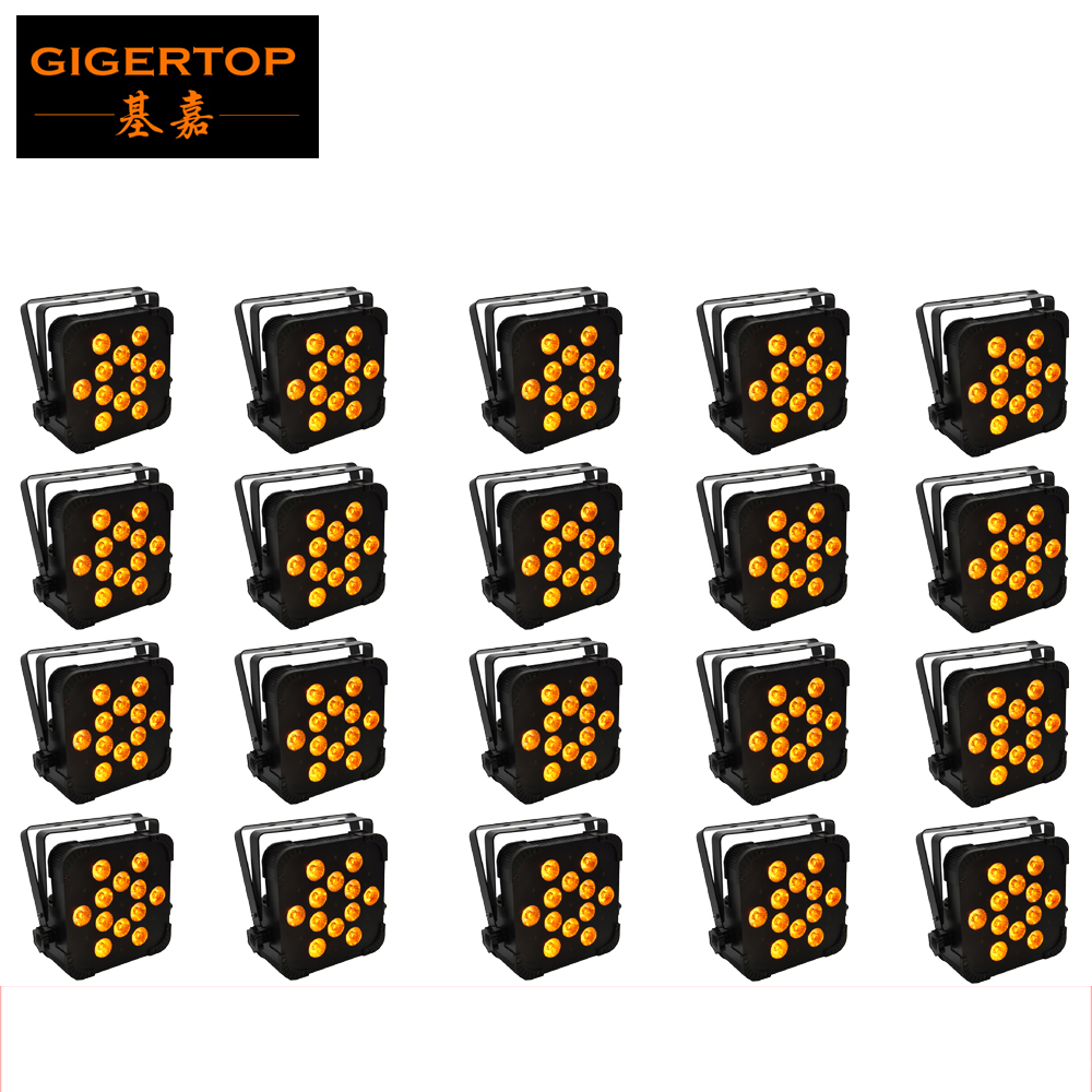 20 Pack 12x15W RGBWA Single Color Stage Light Slim Led Par Cans 5/9 Channels DMX 512 Control CE ROHS Iron Case TP-G3045-5IN1 stackable 4in1 flightcase pack 350w big bee eye led par light zoom rotation colorful stage par cans plastic cover lcd display