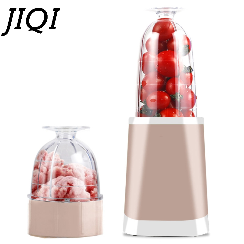 JIQI Mini portable electric juicer Blender fruit Juice Maker mixer extractor baby Solid food Smoothie Making machine EU US plug electric juicer mini portable small scale domestic fruit juice processor student extractor blender smoothie maker 2 cups