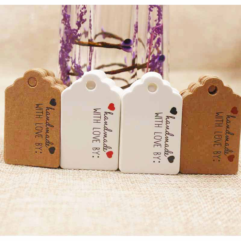 2018 Hot New Vintage Style Paper Gift Tag White/kraft Cardboard Jewelry Label Tag For Gift /wedding Favors Products Note Tag 100