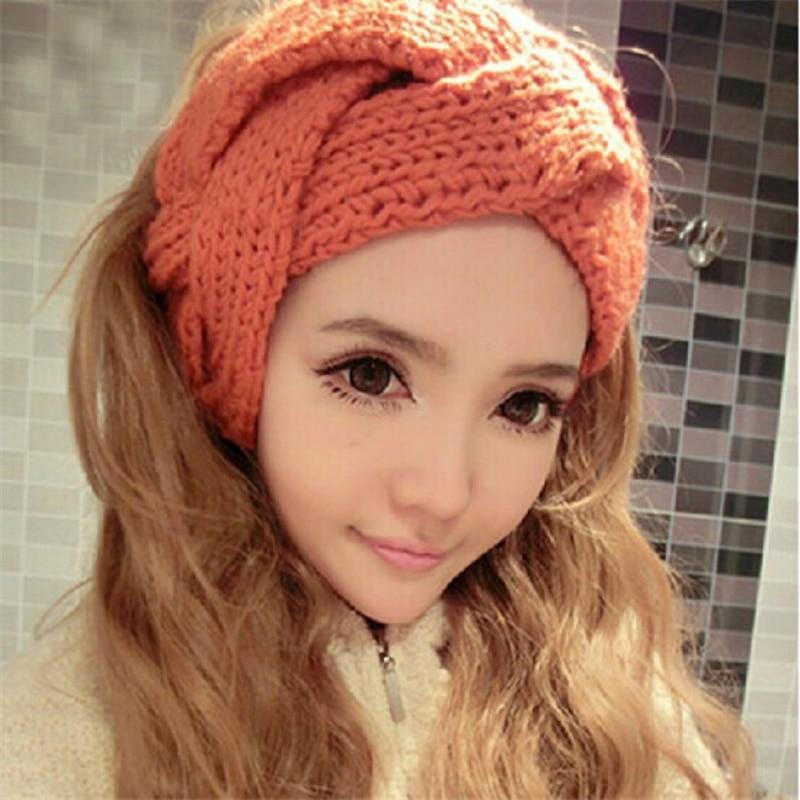 New Arrival Fashion Warmer Winter Hats Women Hair Band For Women Solid Color Crochet Twist Knitted Headwrap   Skullies     Beanies