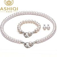 Pearl Jewelry Sets Real Natural Freshwater Pearl Necklace Earrings Bracelet Jewelry For Women Gift