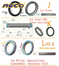 Neco Bearing Bike Headset for Wilier Giant OD2 XTC8 39 41 41.8 43.8 46.8 46.9 47 6 6.5 7 8 30 45 degree angle road запчасть neco 773kw 1 1 8