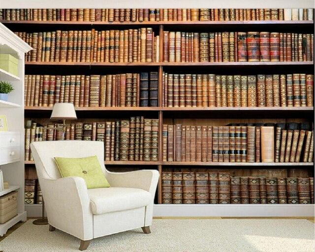 Boekenkast Behang Woonkamer : Beibehang papel de parede d moderne home decor behang klassieke