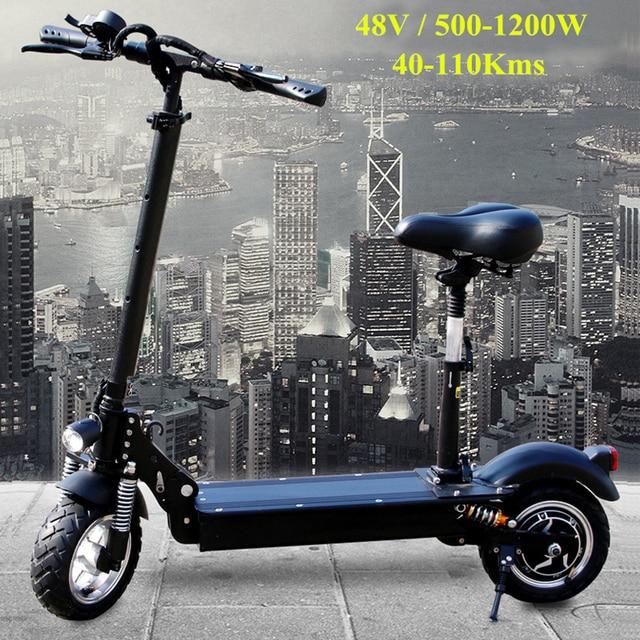 FLJ новейший электрический скутер для взрослых с сиденьем 11 дюймов 48 В/1200 Вт 10 дюймов 500 Вт самокат складной большой электромобиль колеса