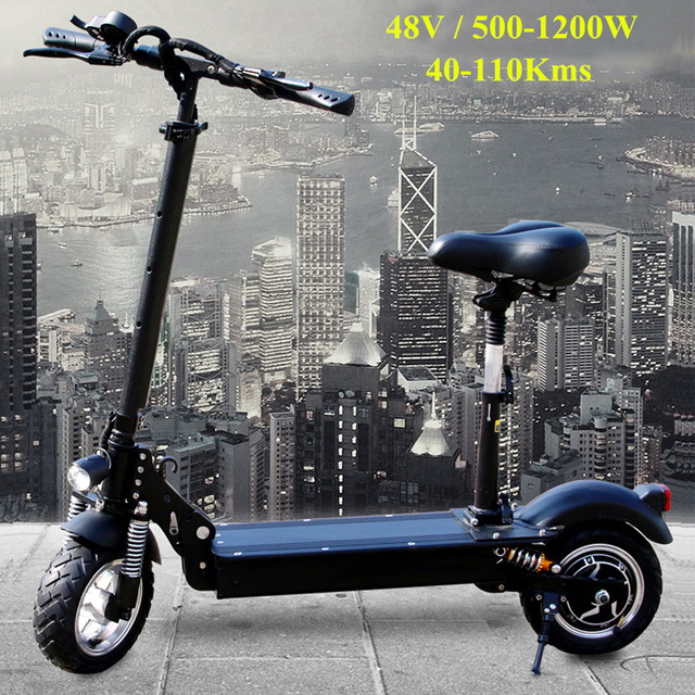 FLJ Newest Electric Scooter for Adults with seat 11inch 48V/1200W 10inch 500W kick scooter foldable big wheel electro bike