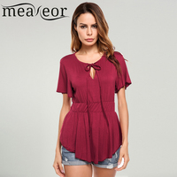 Meaneor Women S Short Sleeve Lace Up Neck Solid Stretchy Slim Fit Peplum Top