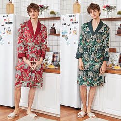 QWEEK халат для мужчин кимоно атласные пижамы мужские халаты печати Шелковый 2019 сезон: весна-лето с длинным рукавом человек тонкий