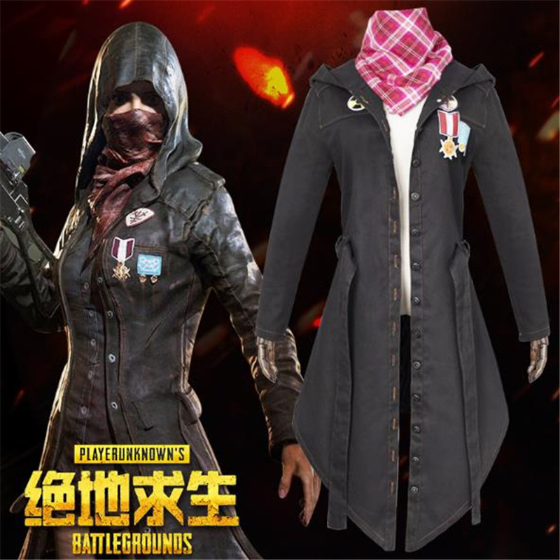 BOOCRE Game PUBG Cosplay clothing Scarf Battle Royale Black Chicken Trench Unisex Halloween Costumes Sets