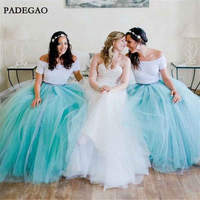 Beauty   Bridesmaid     Dresses   A-Line Off Shoulder Floor-Length Short Sleeves Tulle Simple   Bridesmaids     Dresses   Prom Custom Made