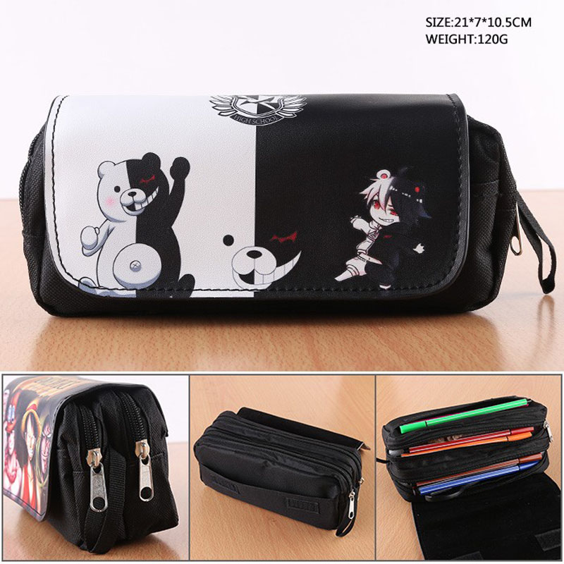 Anime Danganronpa Monokuma Cosmetic Cases Student Stationery Pencil Case Makeup Bag With Double-zipper