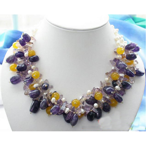 Freshwater Pearl Necklace,3Rows Amethyste-s Top-az J-ade White Rice Cultured Pearl Jewellery,New Free Shipping.