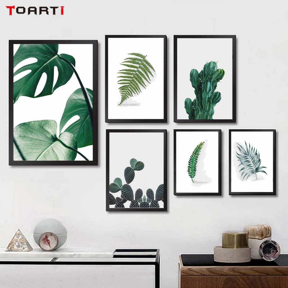 Nordic Cactus Leaves Canvas Painting Green Plant Wall