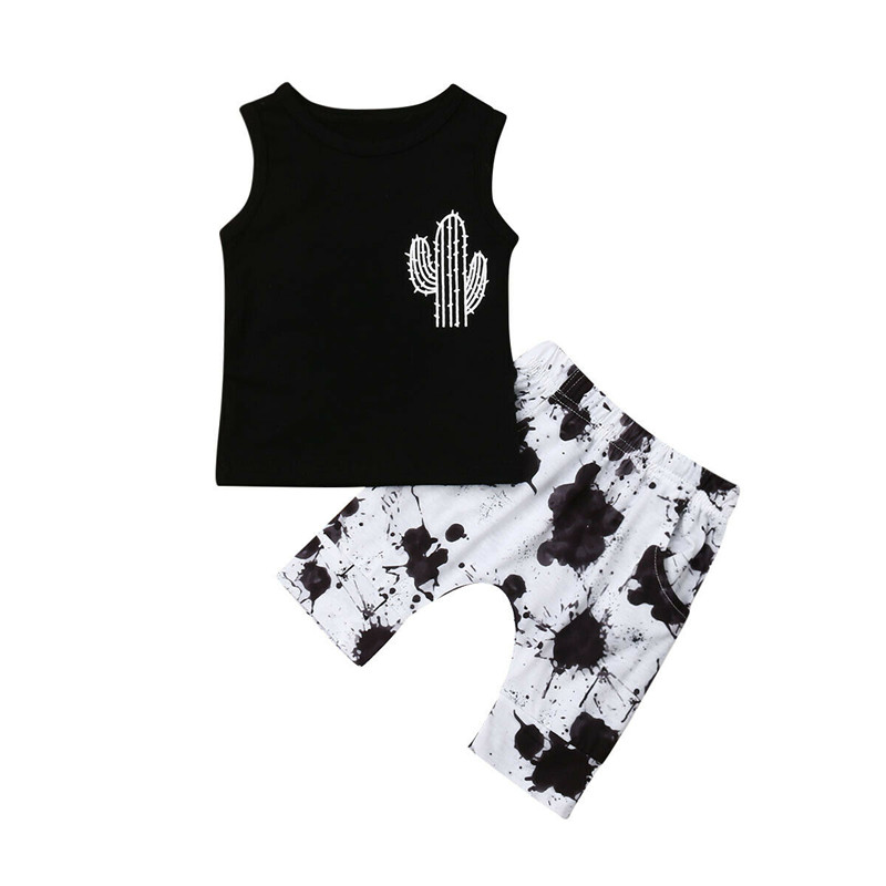 Toddler Kids Baby Boys Cactus Print T-shirt Tops Denim Shorts Pants Clothes Set