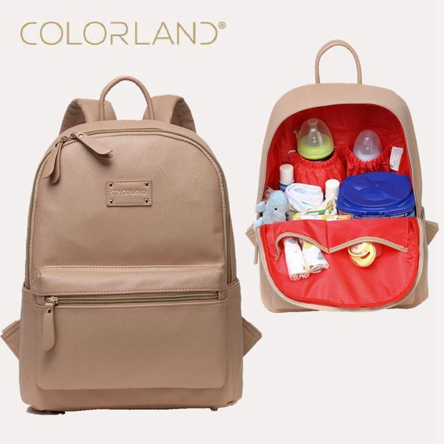 COLORLAND Diaper Bag Backpack PU Leather Baby Bag Organizer large Nappy Bags Mother Maternity Bags Mom Backpack Baby Backpack