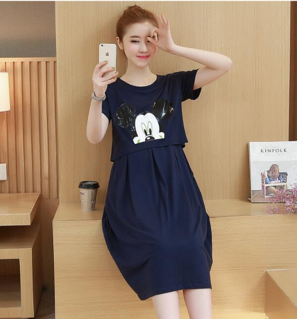 New pregnancy Clothes Pregnant Women Summer Knee-length Dress Maternity Breastfeeding Loose Cotton Nursing Dresses