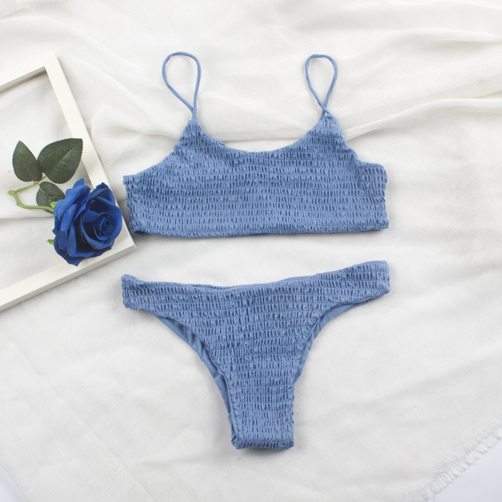 Sexy Pleated Bikinis 2019 Mujer Women Swimsuit Swimwear Women Female Brazilian Bikini Set  Beach Wear High Cut Bathing Suit 313