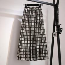 YICIYA midi plus size whiter Plaid skirt high waist for women 2019 large retro vintage mid length loose summer black clothing