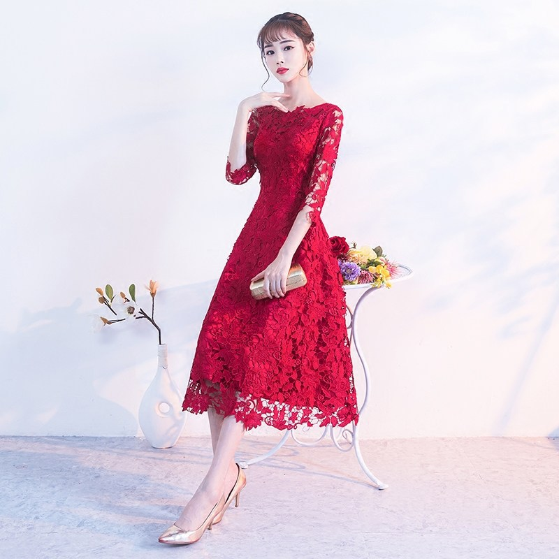 Embroidery Red Chinese Dress Qipao Sexy Cheongsam Dresses Casual Women Lace Traditional Evening Gown Vestido Oriental Wedding