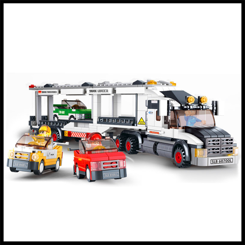 SLUBAN 0339 638Pcs Carrier Vehicle Transport Truck Model Building Block Educational Toys For Children Compatible Legoe 0367 sluban 678pcs city series international airport model building blocks enlighten figure toys for children compatible legoe