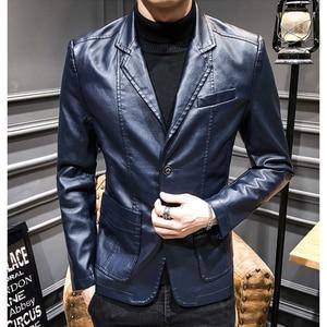 Image 2 - 2020新しい革のジャケットストリートファッション男性のスーツのジャケットの服カジュアルスリムフィットボタン黄色ブルーpuブレザーコート