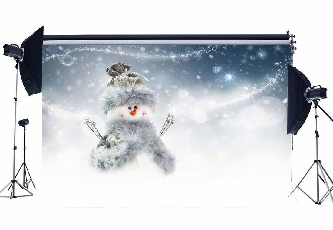 Фон для фотосъемки с Рождеством Снеговик боке халос блестки сверкающие пятна природа зима Фон сцены
