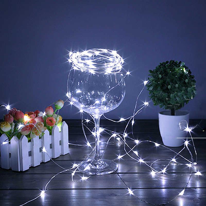 2 м/5 м батарея светодио дный питание led медный провод Фея свет шнура полосы для Рождество дерево праздник свадебные украшения ночное освещение