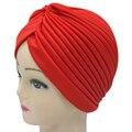 Women India Caps Retro Headband Hijab Muslim Turban  All-match Solid Pleated Headwear Vintage Beanies Hat 2017 New Cheap Hot