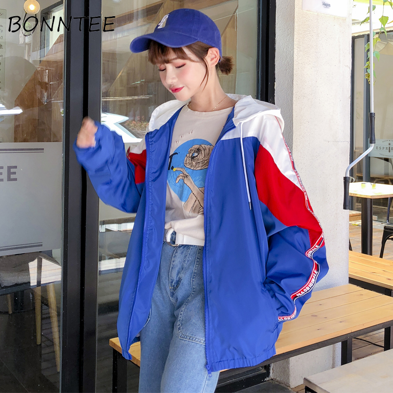 Female   Jackets   Loose BF Zipper Patchwork Harajuku Long Sleeve   Basic     Jackets   Women Fashion All-match Outwear Womens Hip-hop Chic