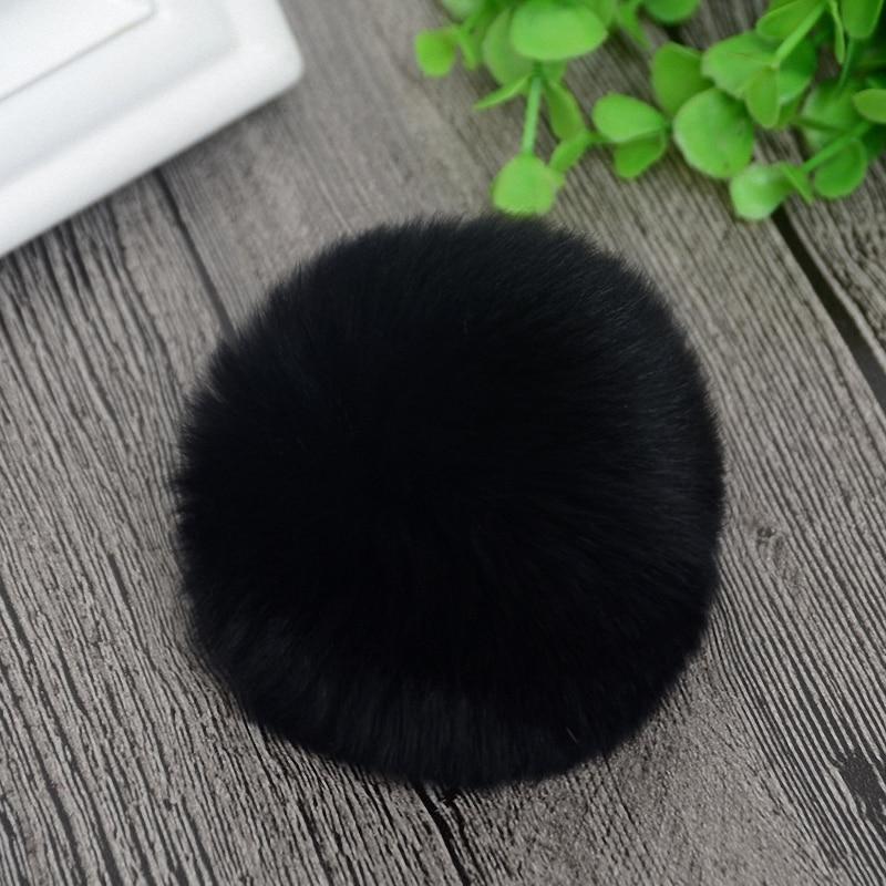 8cm Nature Genuine Rex Rabbit Fur Ball Pom Pom Fluffy DIY Winter Hat Skullies Beanies Knitted Cap Pompoms  TWF001-black