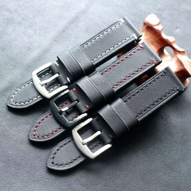 TOTOY Black Red Stitch Leather Strap 18MM 19MM 20MM 21MM 22MM Black Stitch Black Leather Watch Strap Trimming Process Bracelet