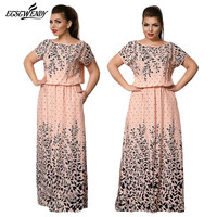 5XL 6XL Large Size Summer Dress 2017 Elegance Long Print Dress Women Robe Dresses For Women