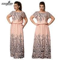 5XL 6XL Large Size Summer Dress 2017 Elegance Long Print Dress Women Robe Dresses For Women
