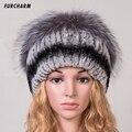 Rex Conejo Del Sombrero de Piel de Las Mujeres de Invierno Real Fur Caps Con Pom Pom Silver Fox Fur Balls Sombreros Ruso Ushanka Casquillo Gorros Sombrero Para Dama