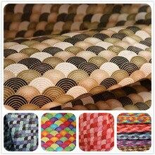 Tissu de brise douce d'importation de demi-cour avec le tissu de lin de coton d'impression d'échelle de poisson doré pour le sac de vêtement fait main de Patchwork de bricolage CR-A254