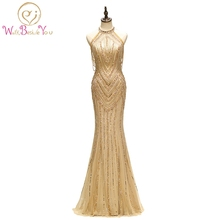Gold Prom Dresses High Neck Beaded Crystal Hard Handwork Mermaid Long Evening Gown Vestido Formatura Longo De Gala Mujer