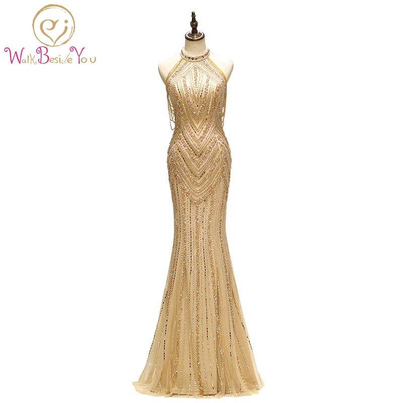 Gold   Prom     Dresses   High Neck Beaded Crystal Hard Handwork Mermaid Long Evening Gown Vestido Formatura Longo Vestido De Gala Mujer